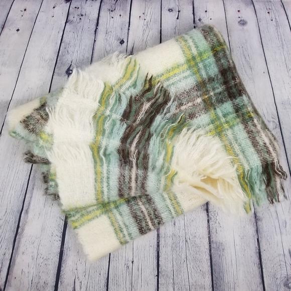 Plaid mohair fringe throw blanket
